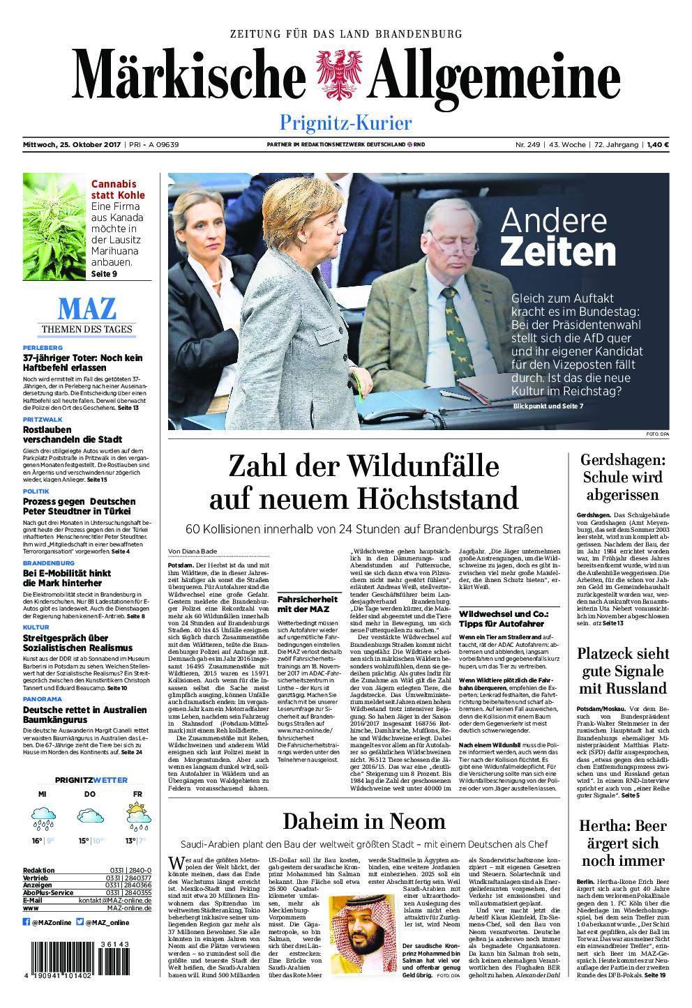 Märkische Allgemeine Prignitz Kurier - 25. Oktober 2017