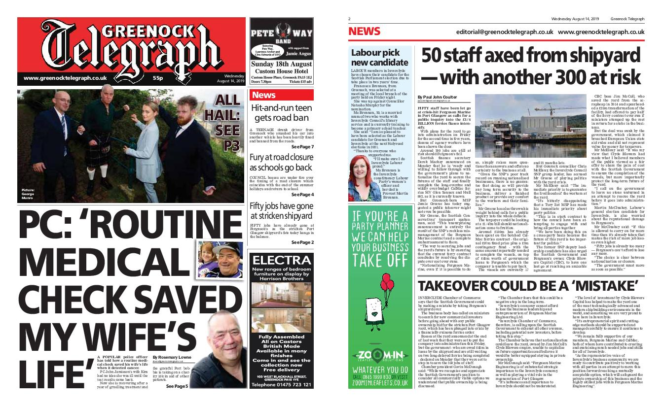 Greenock Telegraph – August 14, 2019