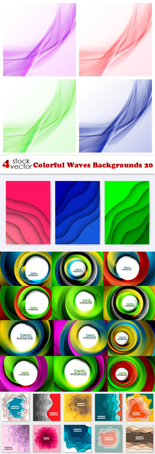 Vectors - Colorful Waves Backgrounds 20