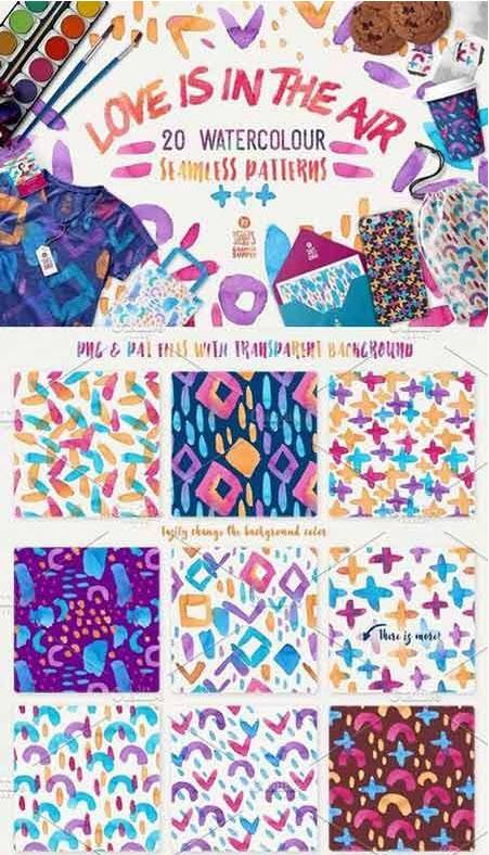 CreativeMarket - Love Is In The Air, Pattern Pack