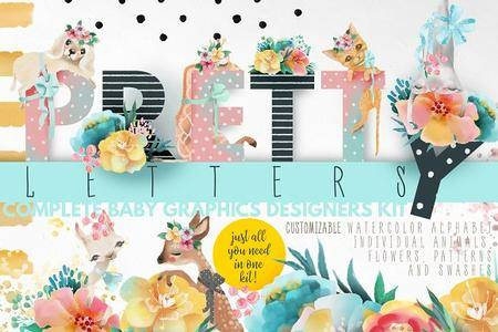 CreativeMarket - Pretty Letters - Baby Designers Kit