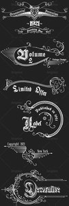 Vintage Ornaments and Brushes Vector Set 9