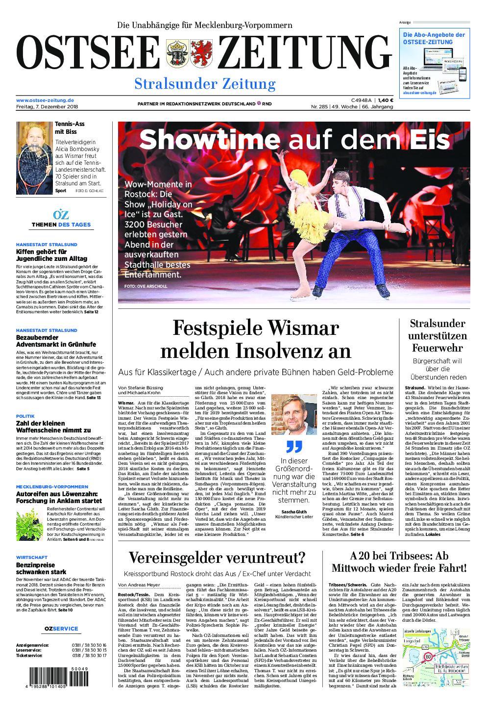 Ostsee Zeitung Stralsund - 07. Dezember 2018