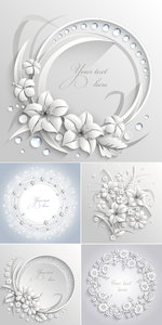 White Floral Backgrounds Vector