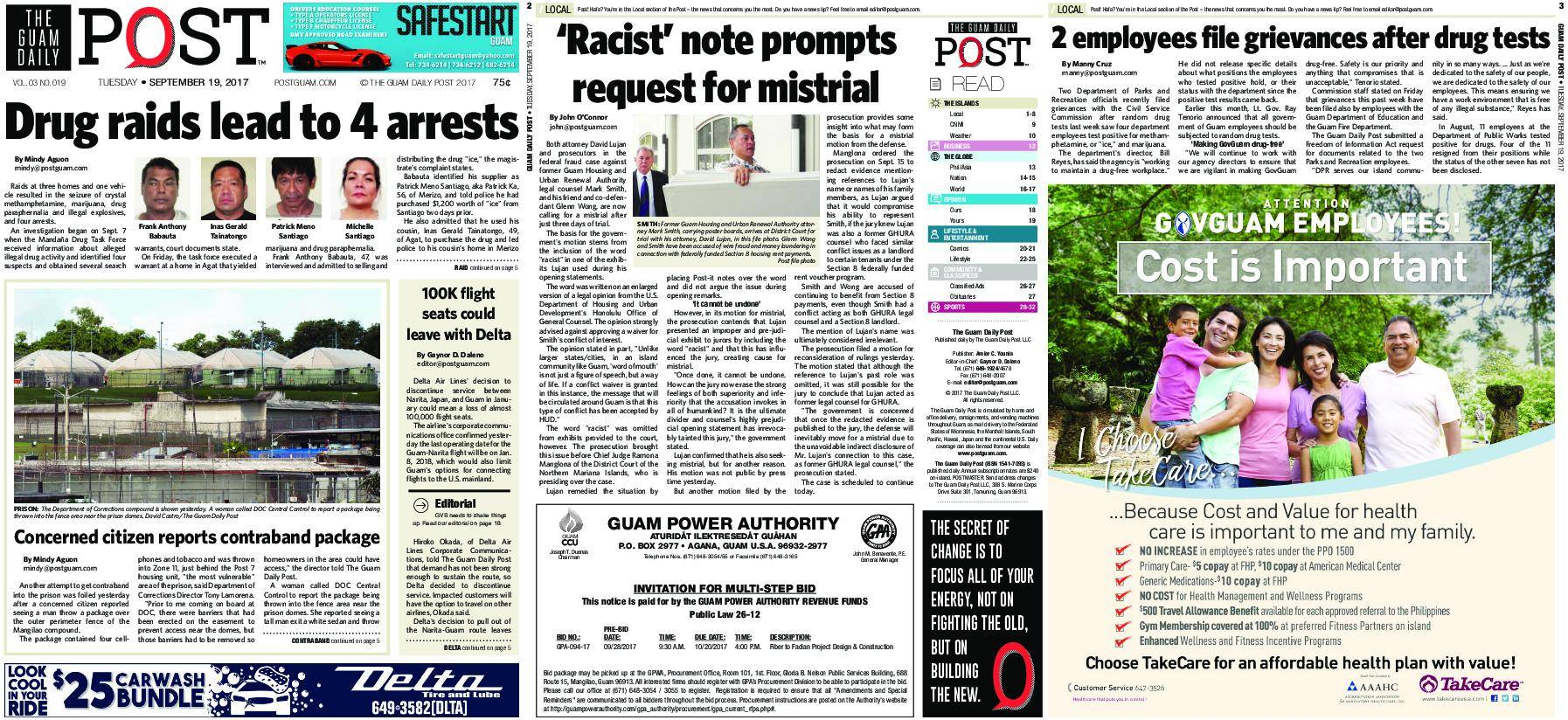 The Guam Daily Post – September 19, 2017