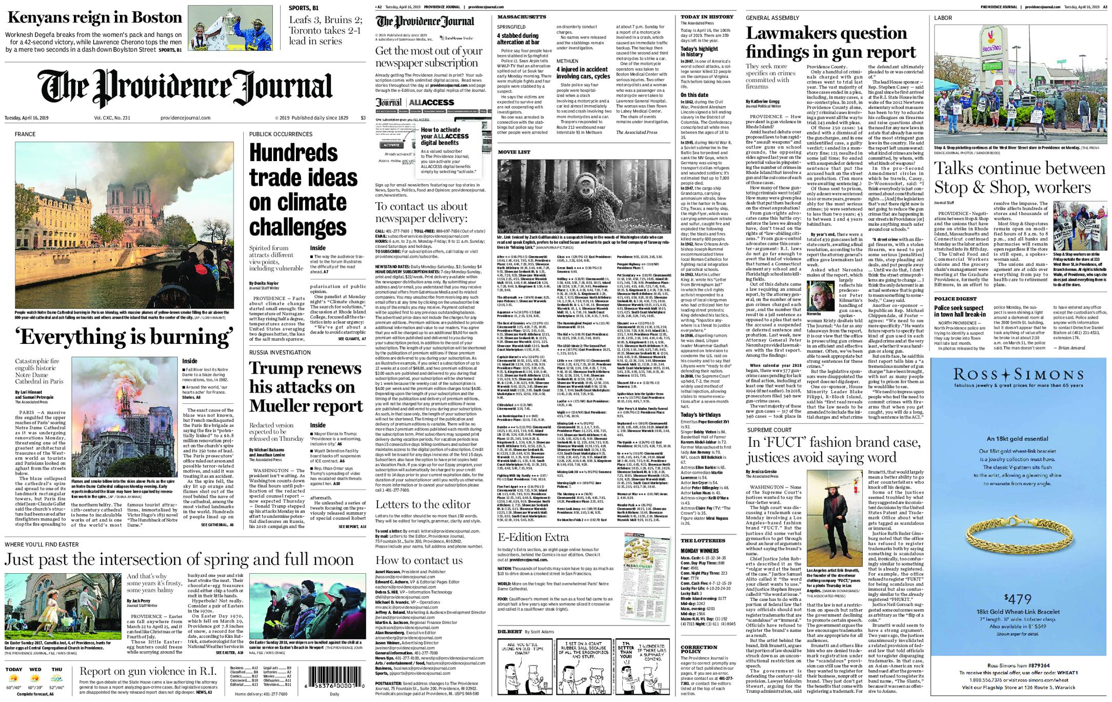 The Providence Journal – April 16, 2019