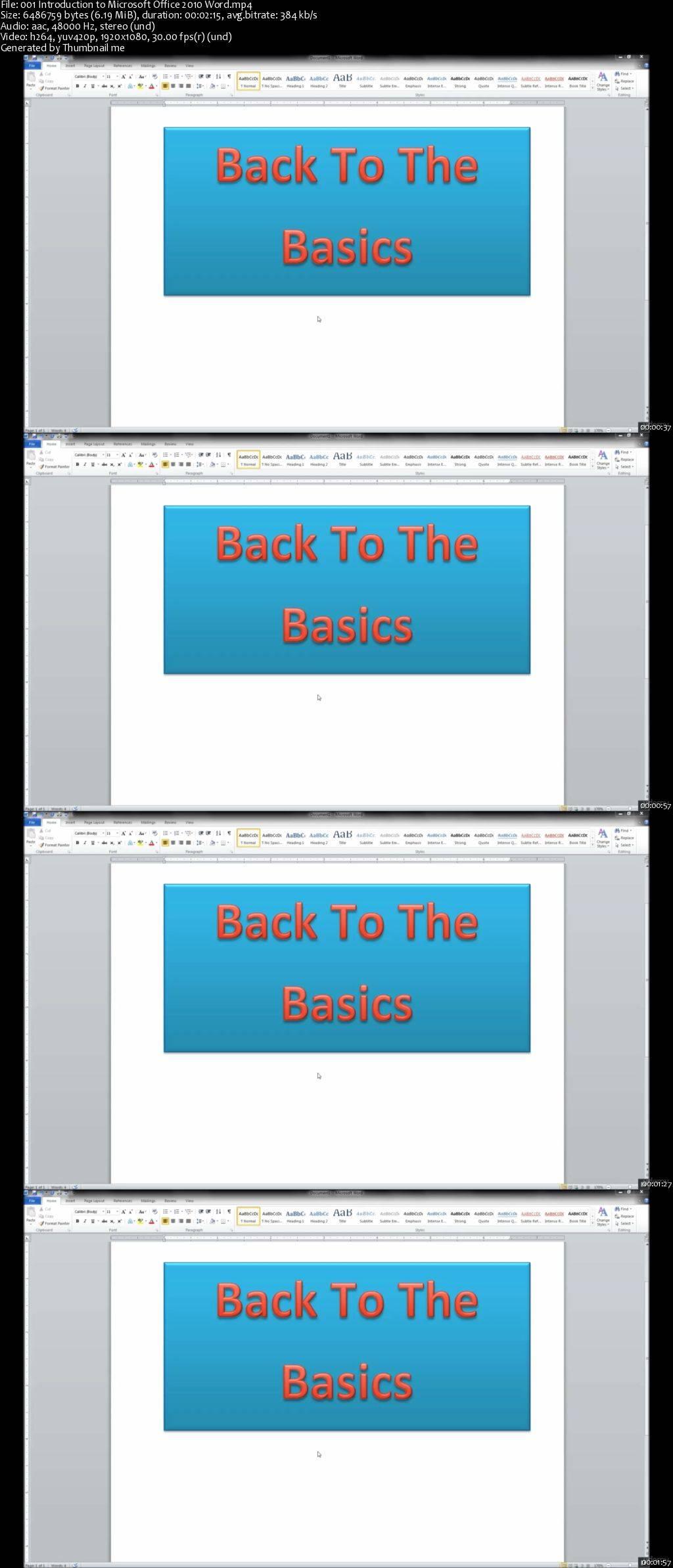 Microsoft Office 2010: Word Basics