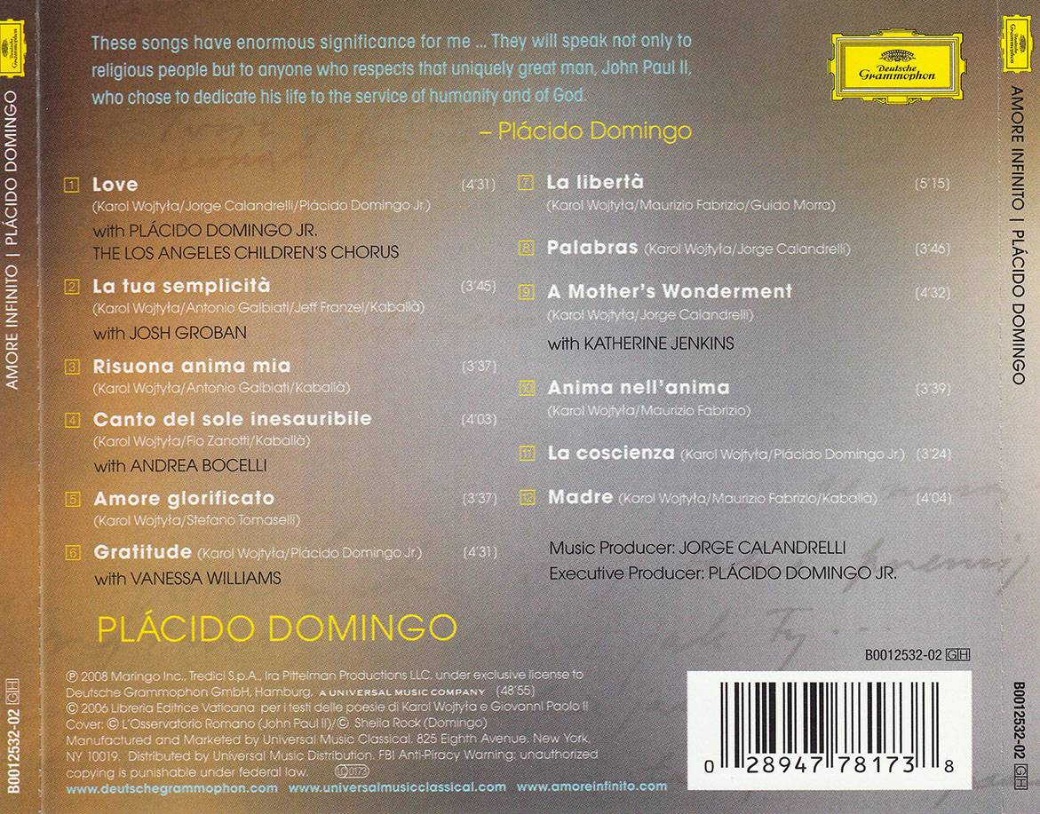 Placido Domingo - Amore infinito: Songs Inspired by Poetry of John Paul II - Karol Wojtyla (2008)
