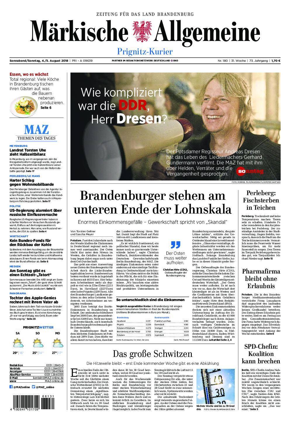 Märkische Allgemeine Prignitz Kurier - 04. August 2018