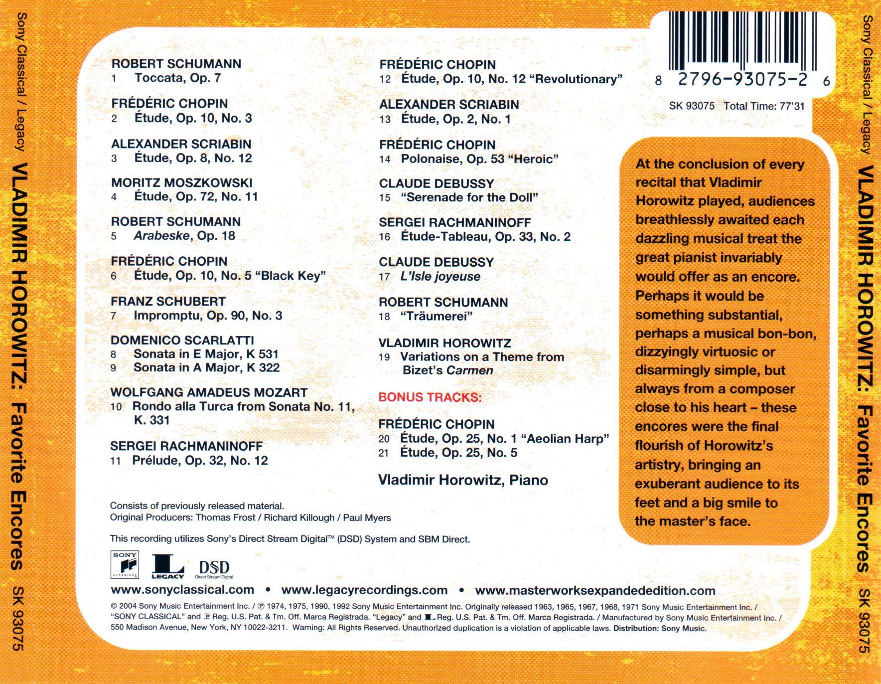 Vladimir Horowitz - Favorite Encores - 2004 / AvaxHome