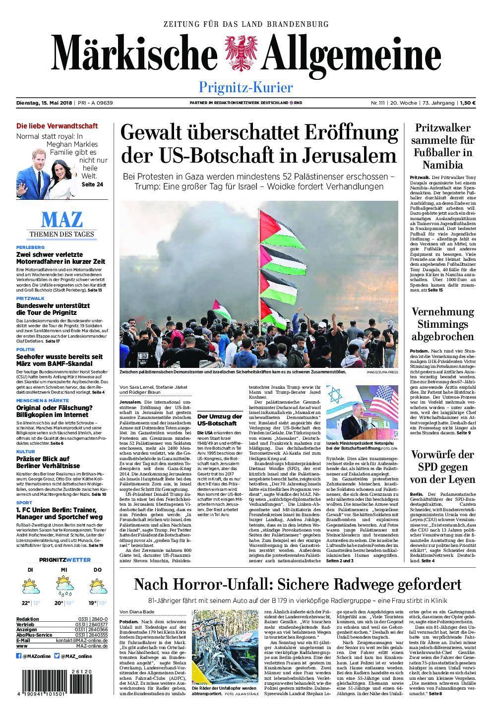 Märkische Allgemeine Prignitz Kurier - 15. Mai 2018