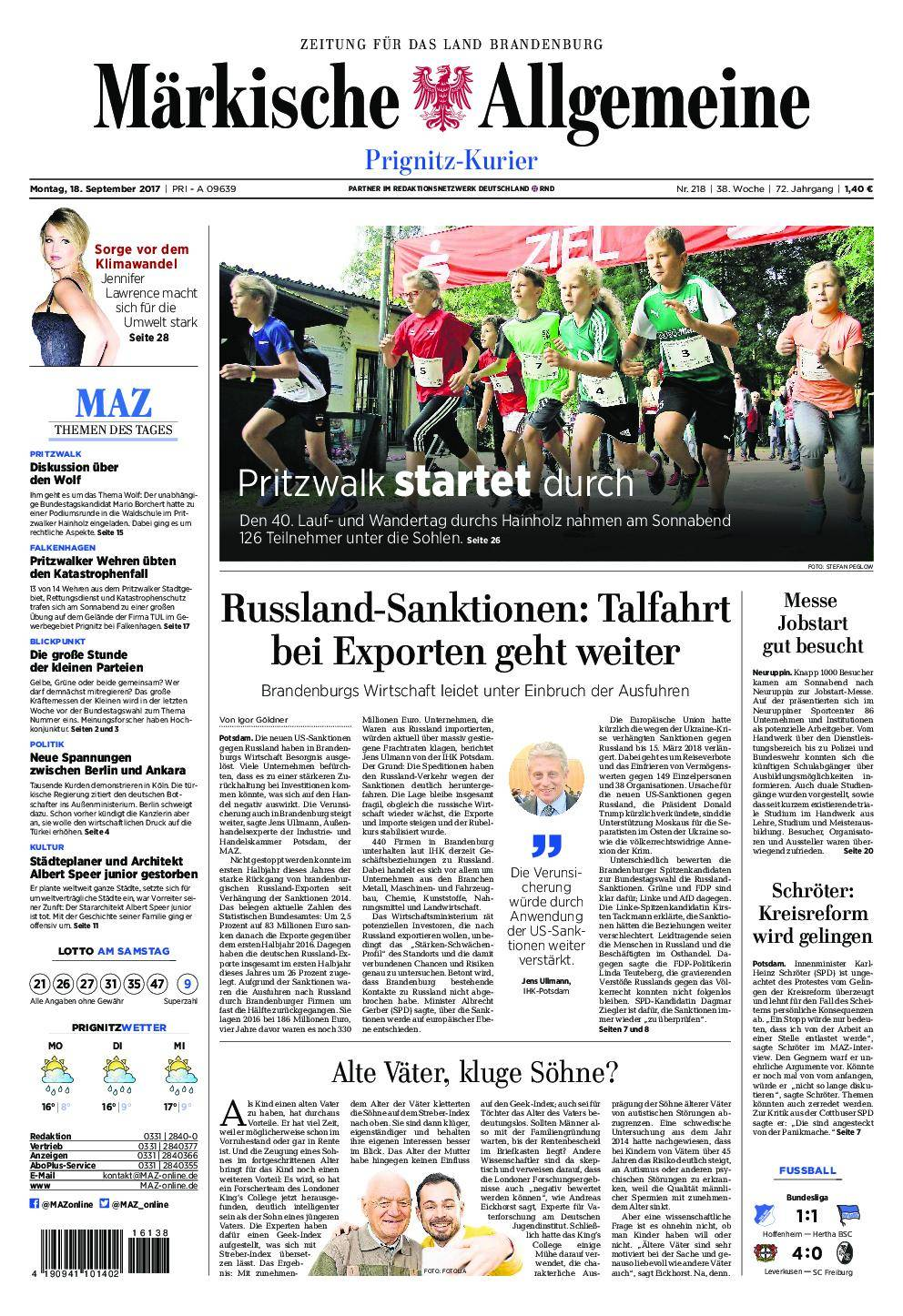 Märkische Allgemeine Prignitz Kurier - 18. September 2017