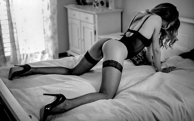 Women Sitting Monochrome Heels Lingerie Daft Sex 1