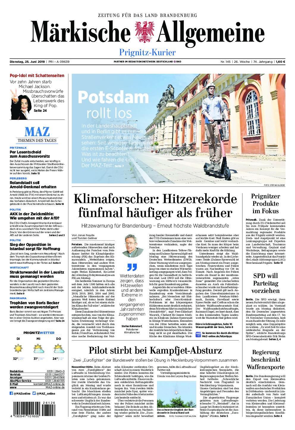 Märkische Allgemeine Prignitz Kurier - 25. Juni 2019