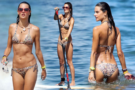 Alessandra Ambrosio - Paddleboarding in Hawaii August 10, 2011