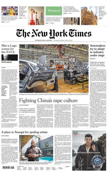 International New York Times - 8-9 June 2019
