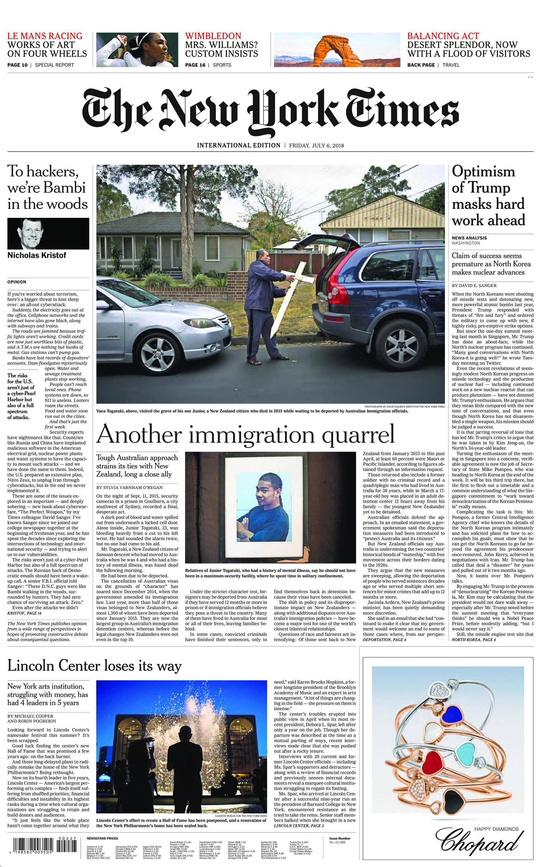 International New York Times - 06 July 2018