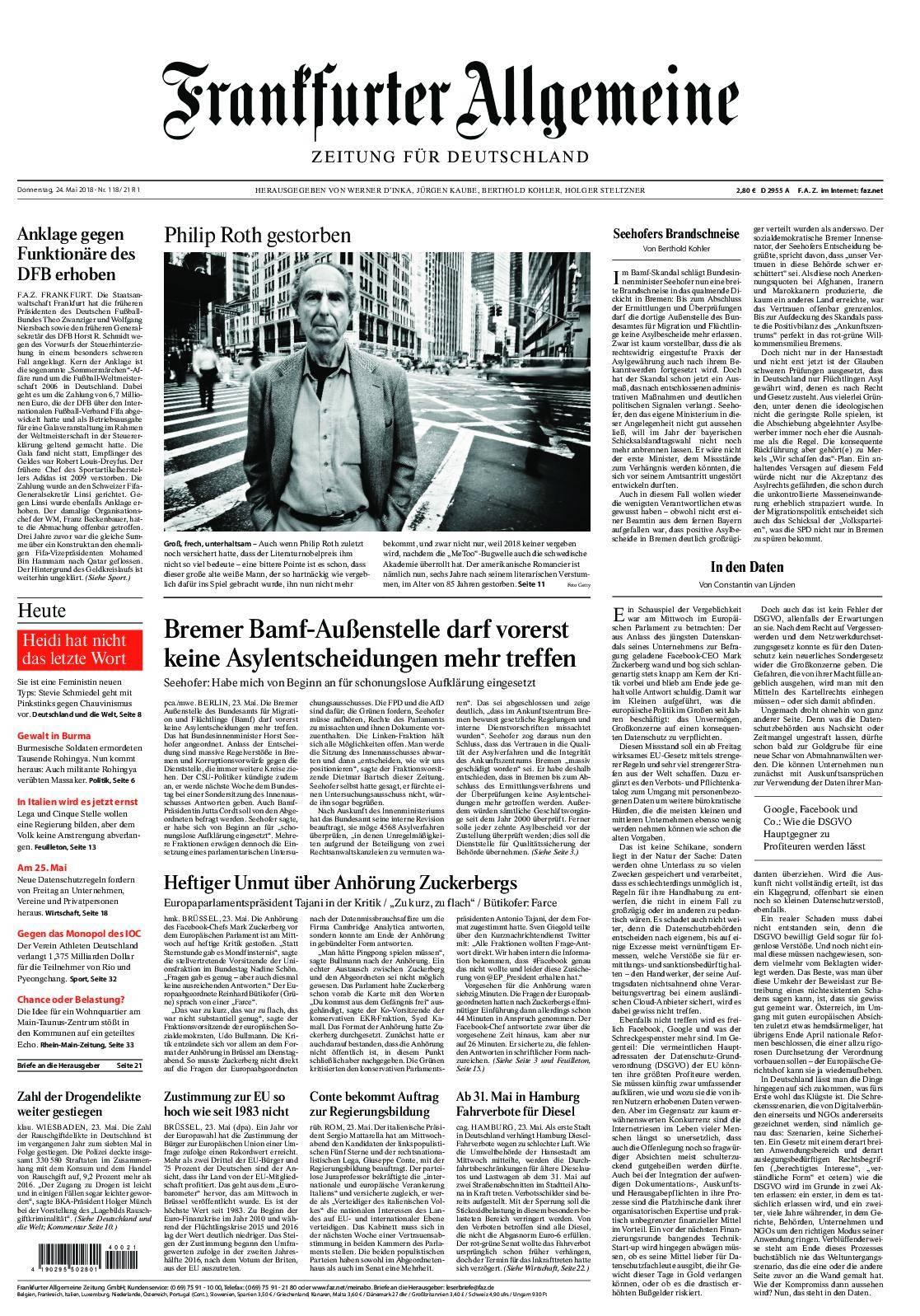 Frankfurter Allgemeine Zeitung F.A.Z. mit Rhein-Main Zeitung - 24. Mai 2018