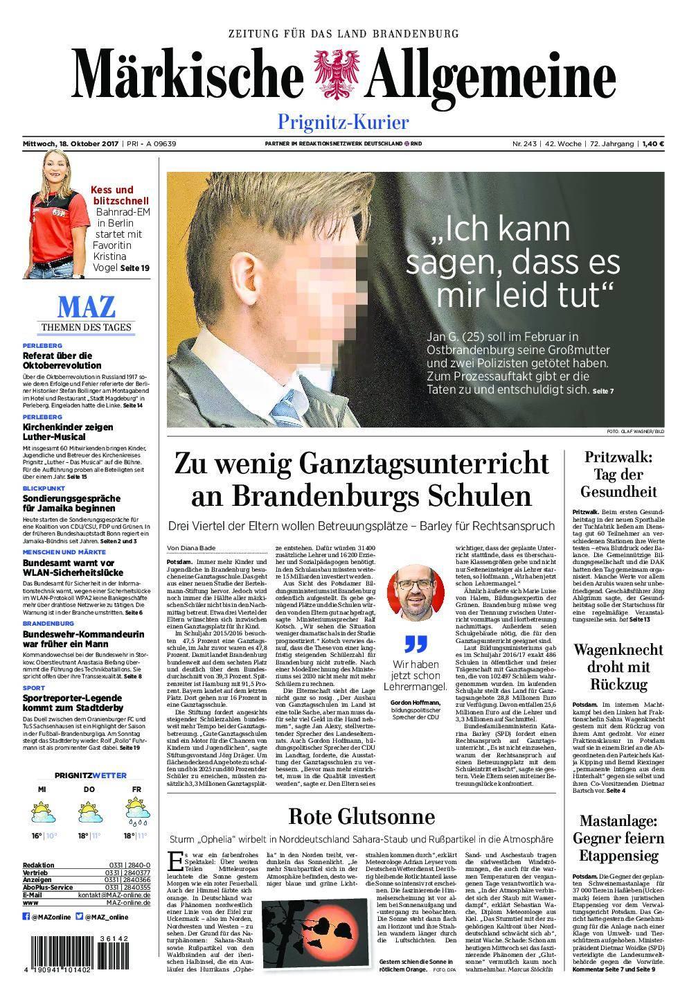 Märkische Allgemeine Prignitz Kurier - 18. Oktober 2017