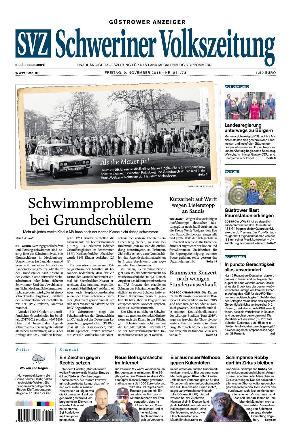 Schweriner Volkszeitung Güstrower Anzeiger - 09. November 2018