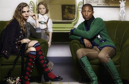 Cara Delevingne and Pharrell Williams by Karl Lagerfeld for CHANEL Pre-Fall 2015 Paris-Salzburg Metieres d'Art