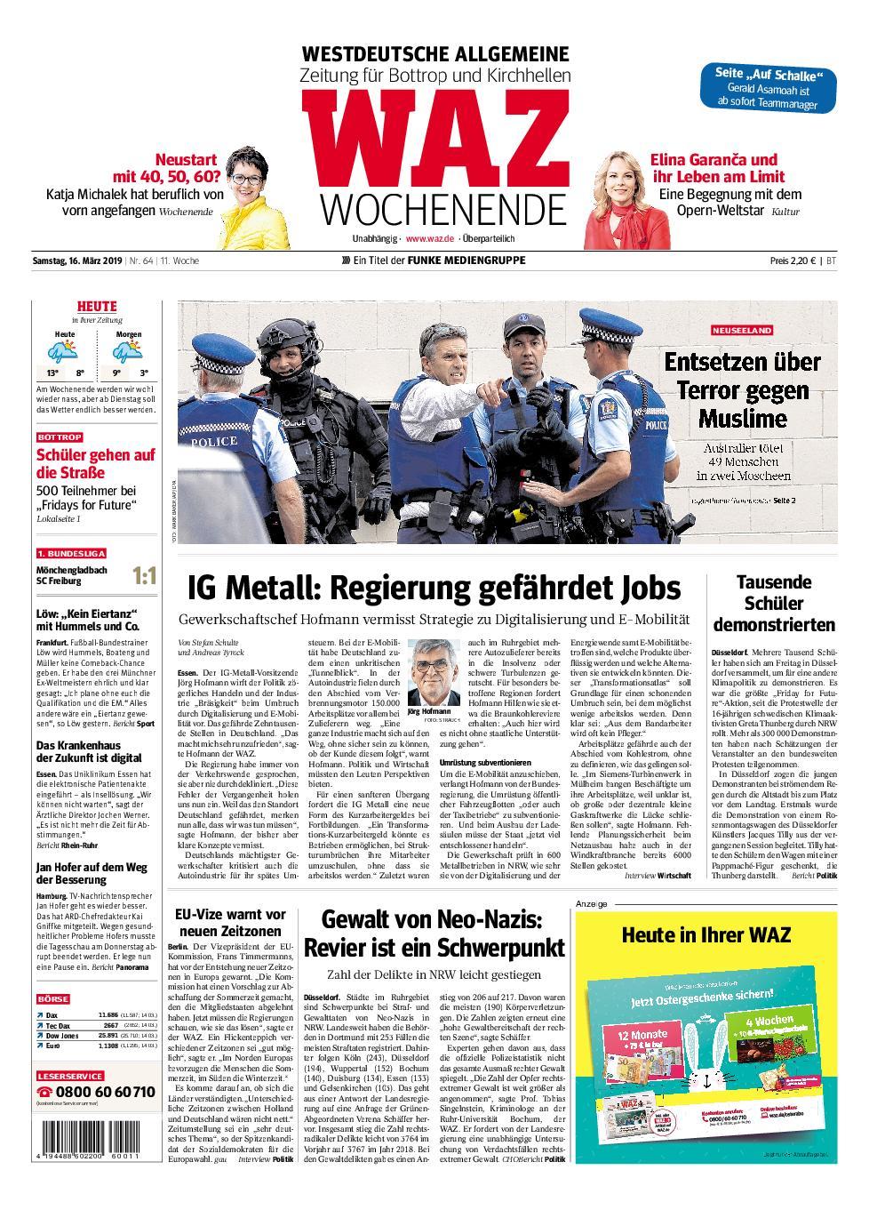 WAZ Westdeutsche Allgemeine Zeitung Bottrop - 16. März 2019