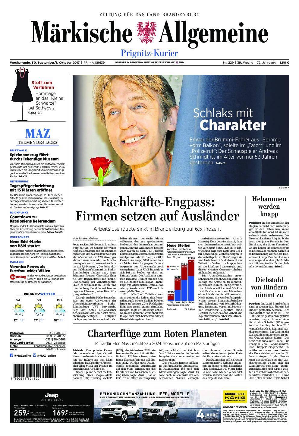 Märkische Allgemeine Prignitz Kurier - 30. September 2017