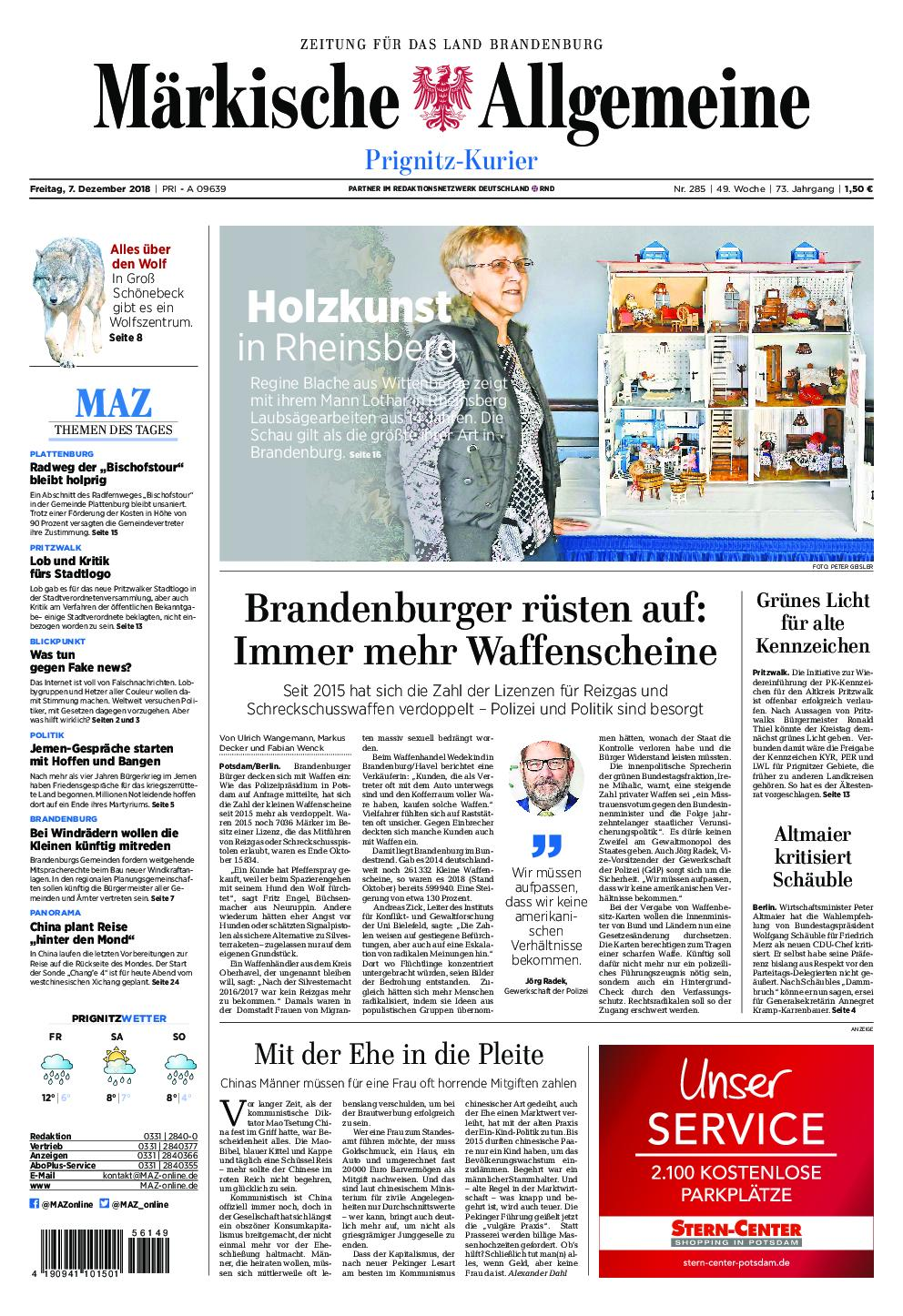 Märkische Allgemeine Prignitz Kurier - 07. Dezember 2018