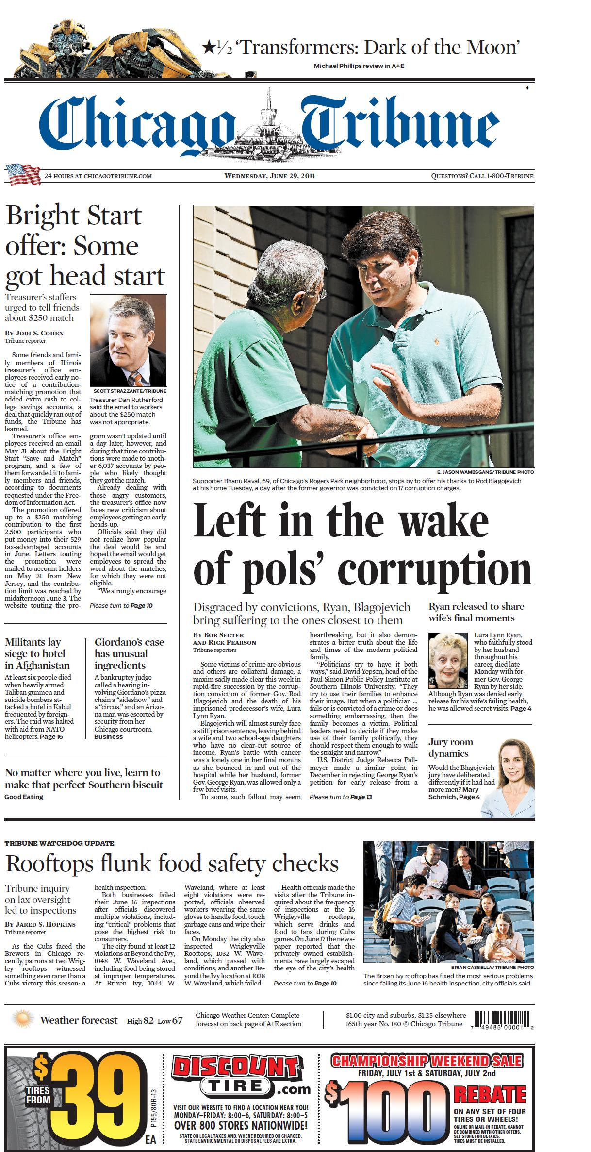 CHICAGO TRIBUNE 29 JUNE 2011