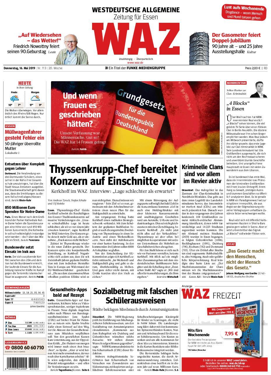 Westdeutsche Allgemeine Zeitung – 16. Mai 2019