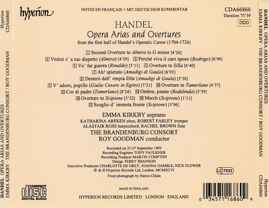 Emma Kirkby, Roy Goodman, The Brandenburg Consort - Handel: Opera Arias and Overtures Vol.1 (1996)