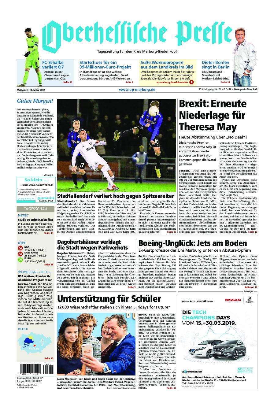 Oberhessische Presse Marburg/Ostkreis - 13. März 2019