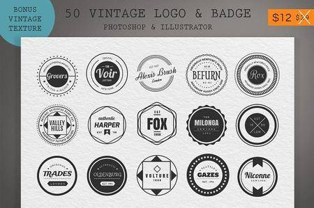 CreativeMarket - 50 Vintage Logo & Badge