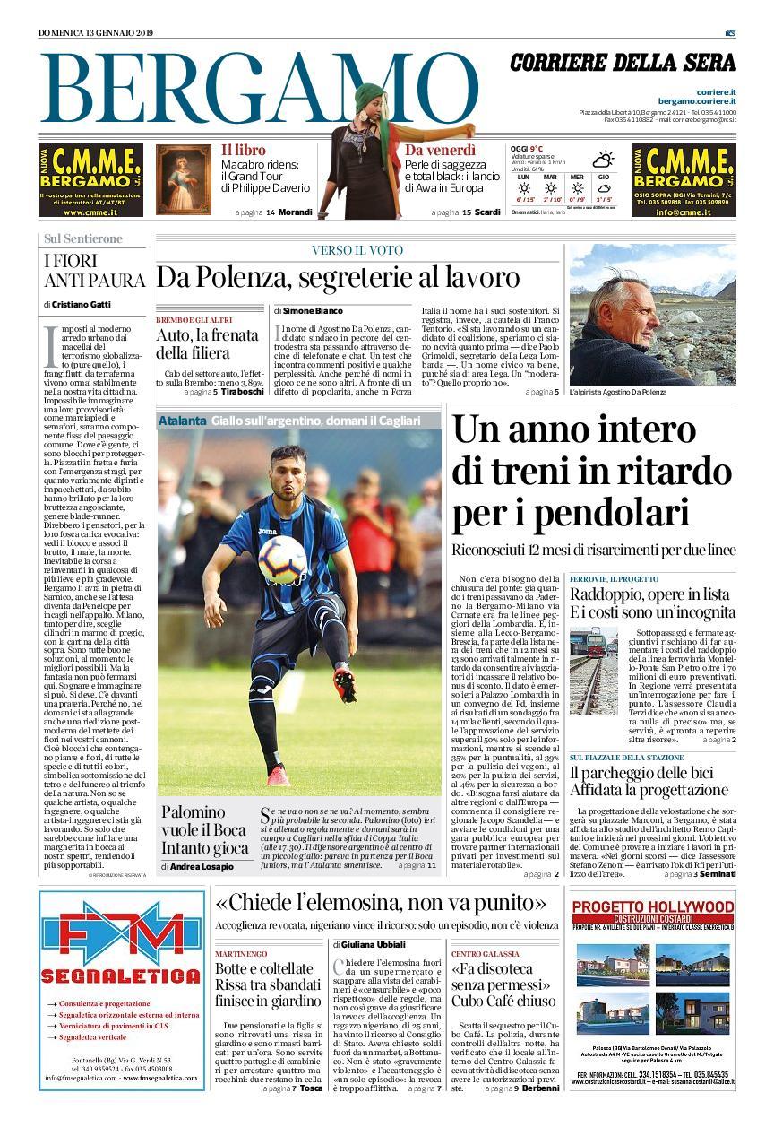 Corriere della Sera Bergamo – 13 gennaio 2019