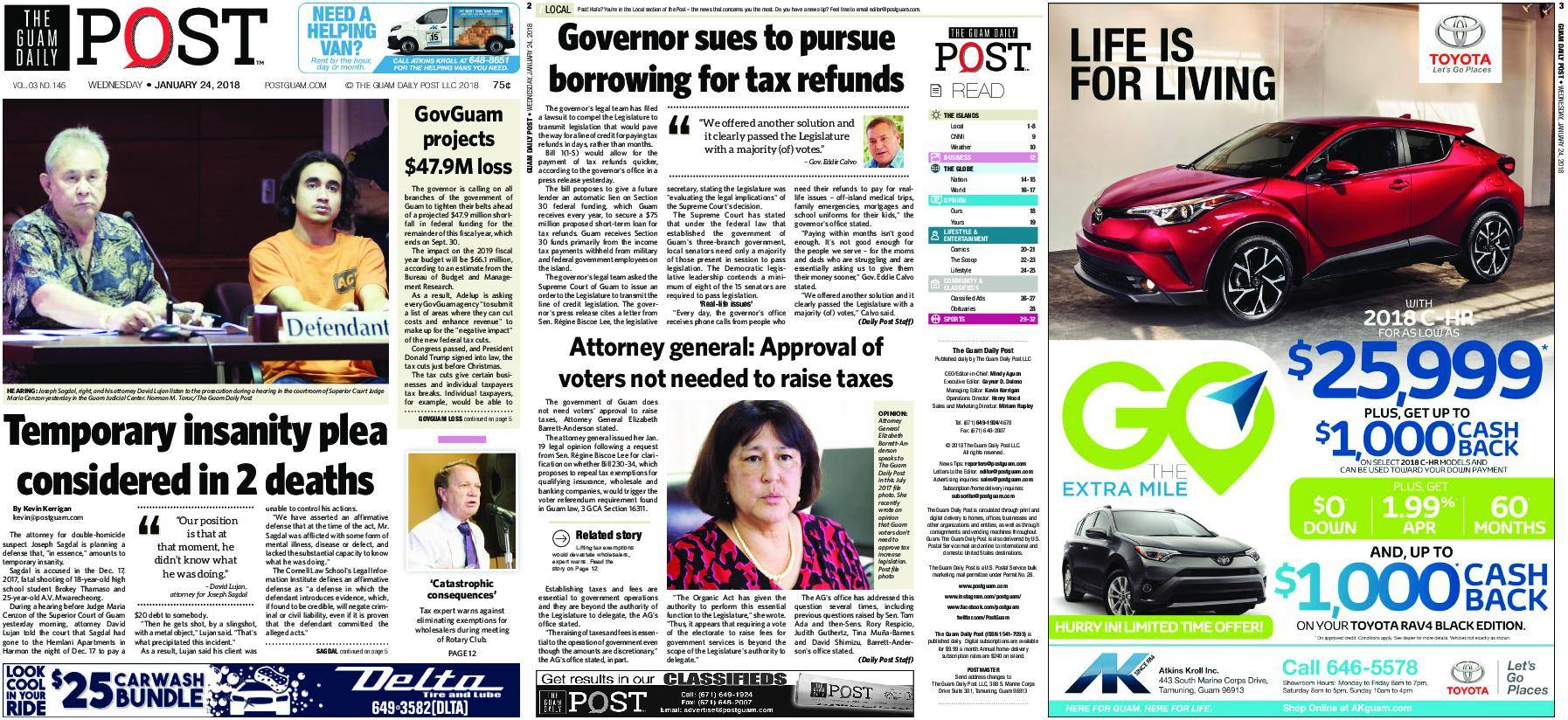The Guam Daily Post – January 24, 2018