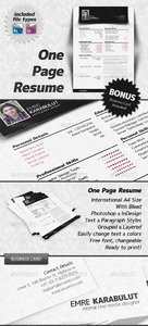 GraphicRiver Minimalist One Page Resume (CV)