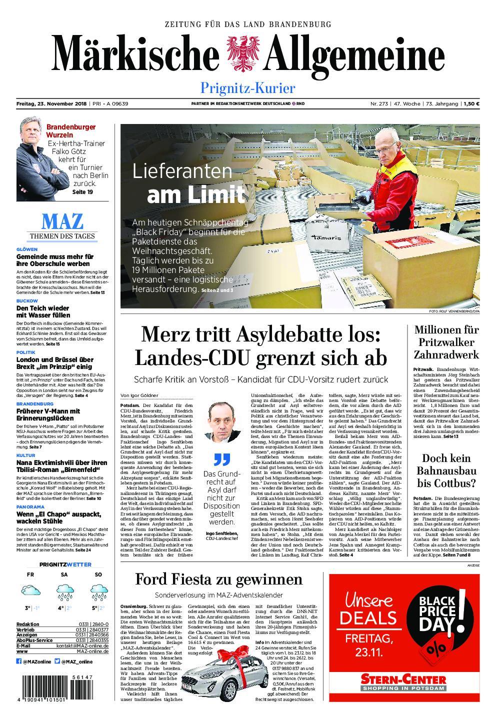 Märkische Allgemeine Prignitz Kurier - 23. November 2018