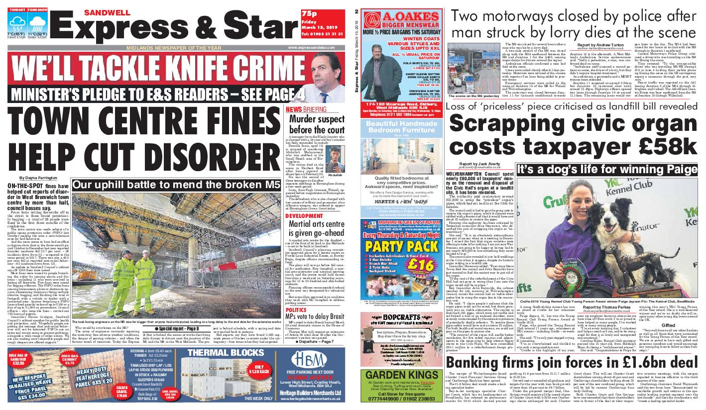 Express and Star Sandwell Edition – March 15, 2019