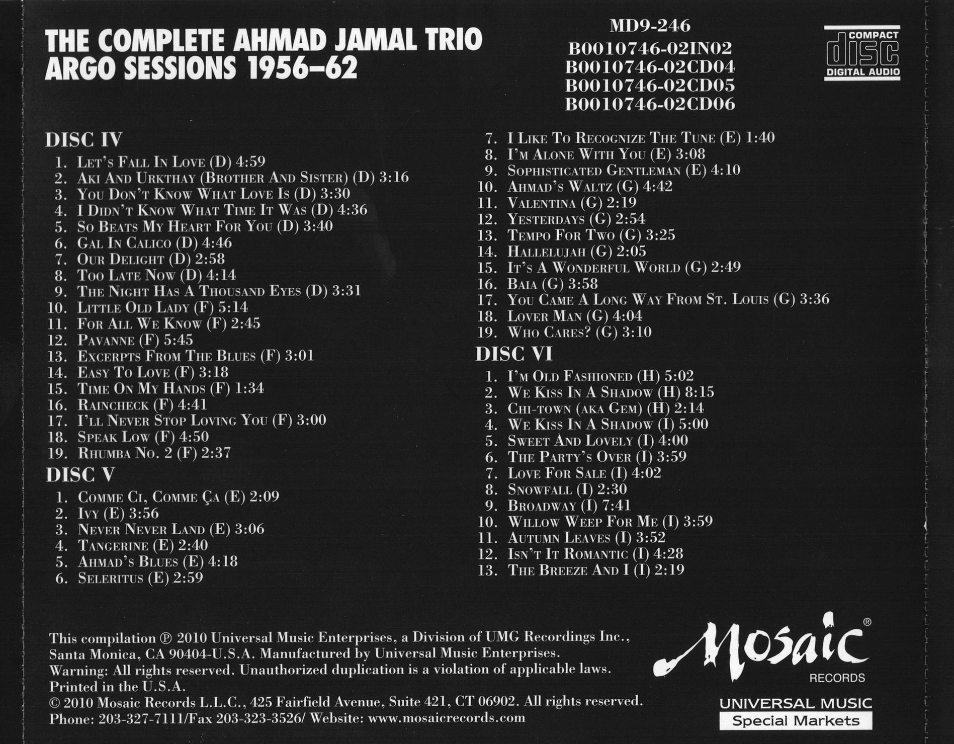 Ahmad Jamal - The Complete Ahmad Jamal Trio Argo Sessions 1956-62 (2010) {9CD BoxSet Mosaic MD9 246}