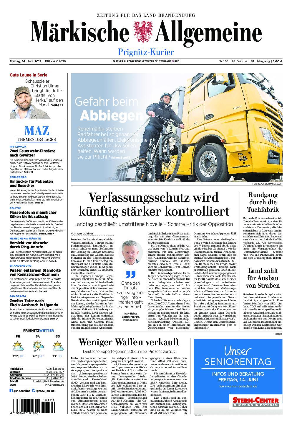 Märkische Allgemeine Prignitz Kurier - 14. Juni 2019