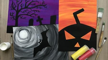 Halloween Children's Painting. Step-by-Step Kid Art Class