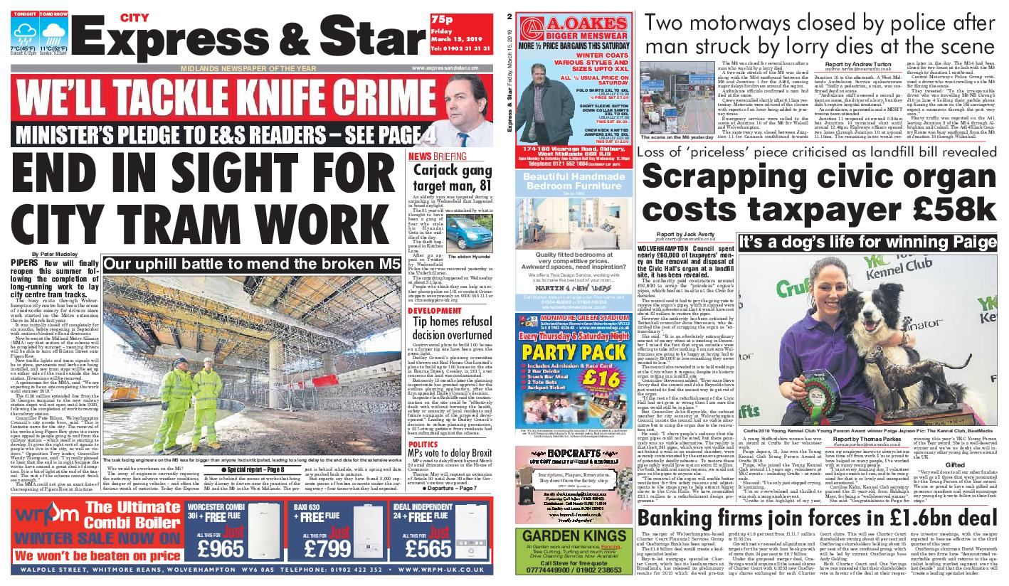 Express and Star City Edition – March 15, 2019