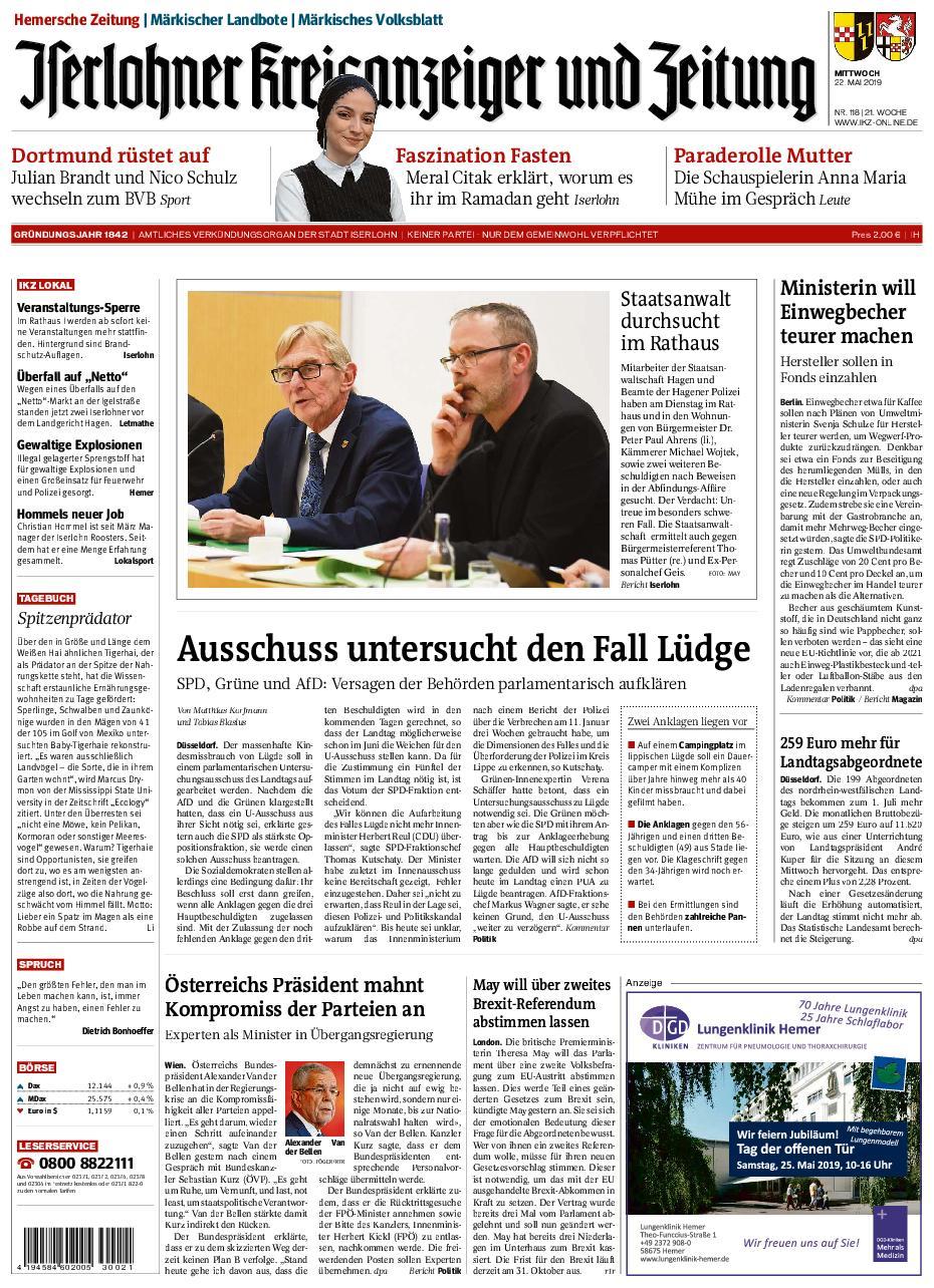 IKZ Iserlohner Kreisanzeiger und Zeitung Hemer - 22. Mai 2019