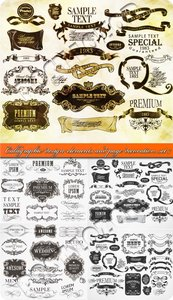 Calligraphic design elements and page decoration set 7