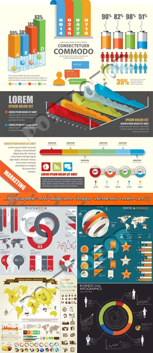 Infographic and diagram design elements vector set 74