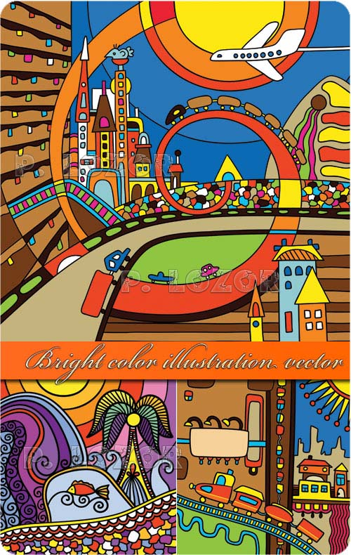 Bright color illustration vector