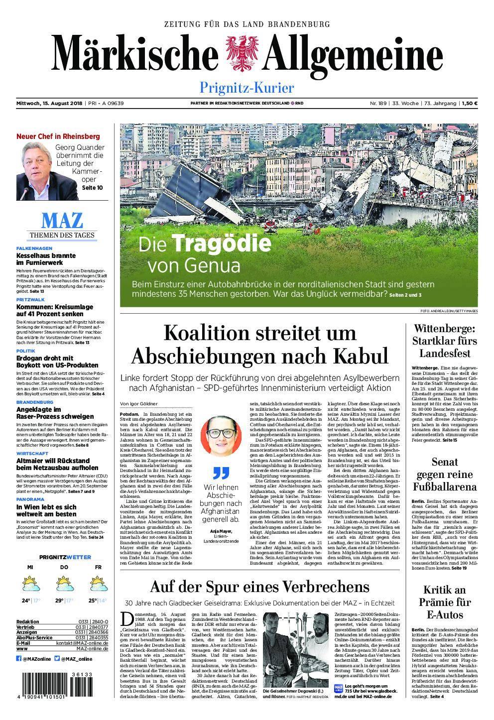 Märkische Allgemeine Prignitz Kurier - 15. August 2018