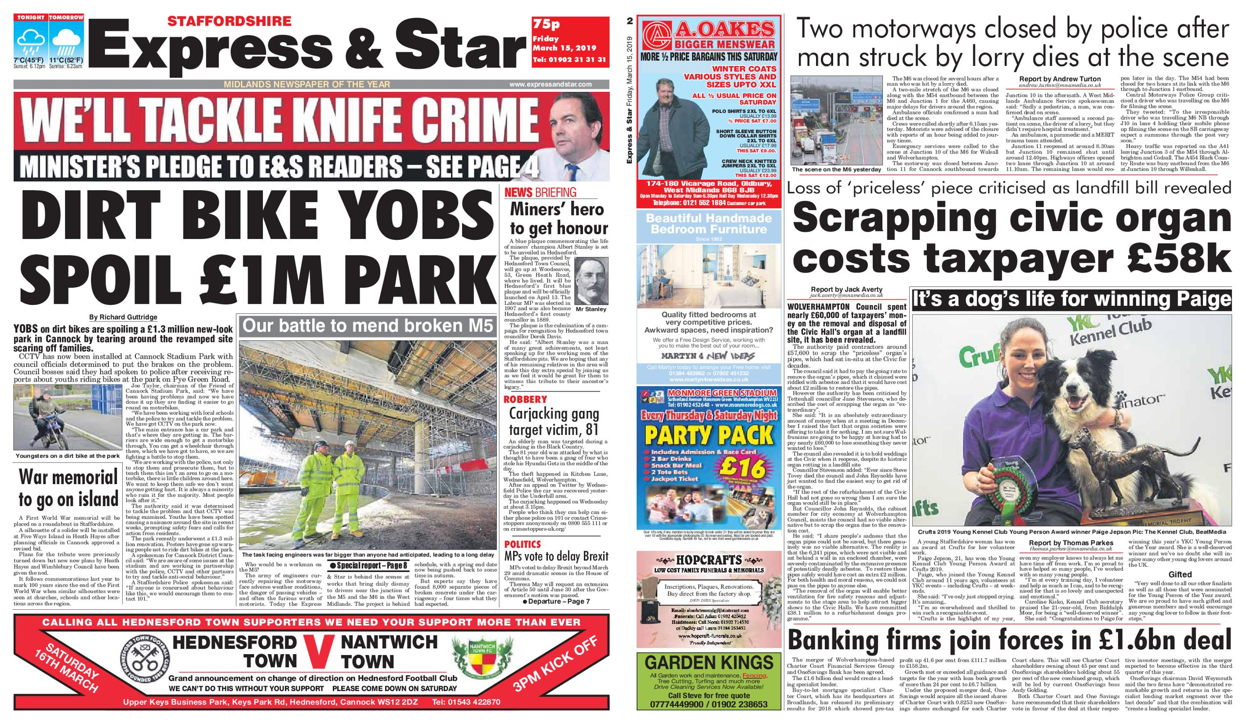 Express and Star Staffordshire Edition – March 15, 2019