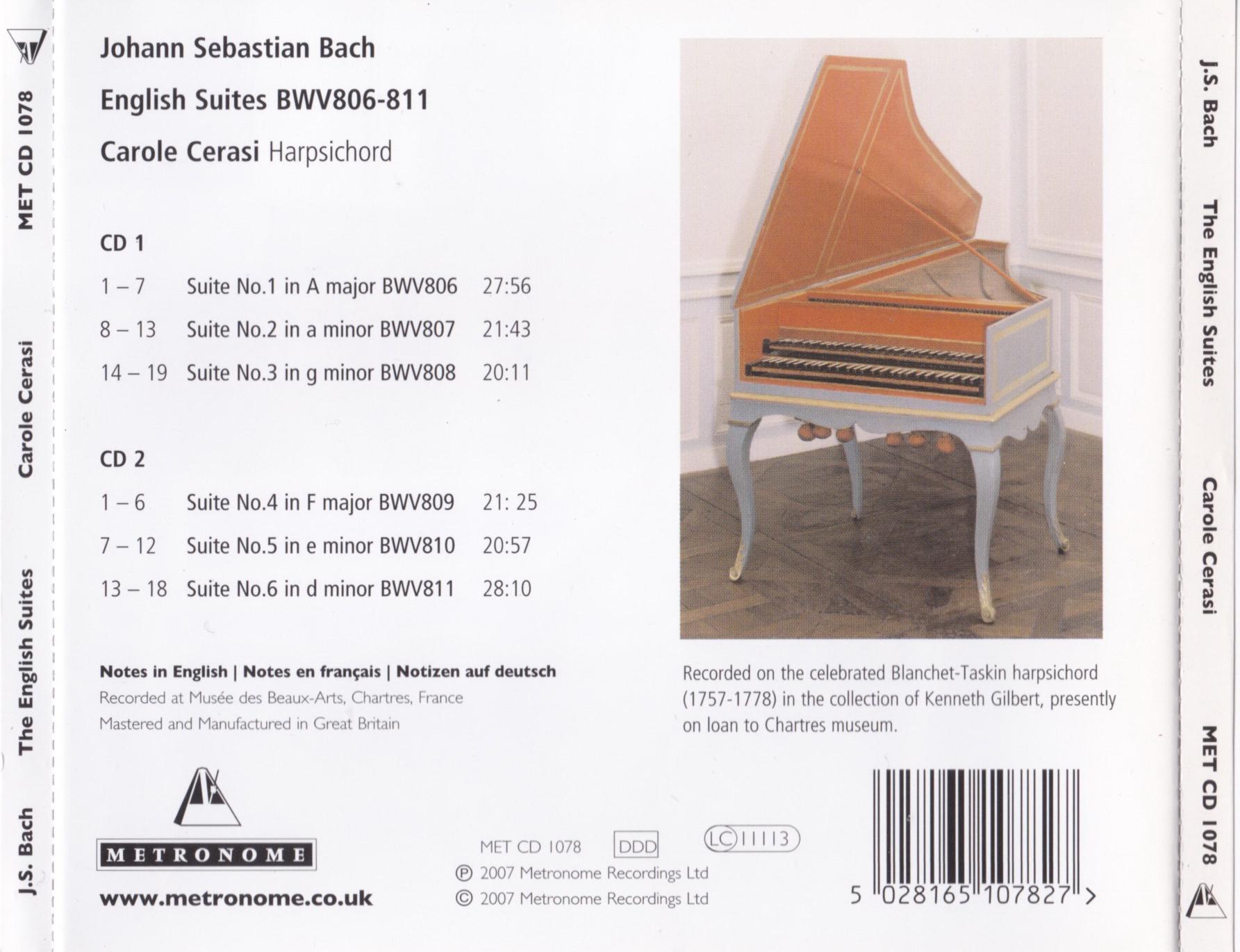 J.S. Bach - The English Suites - Carole Cerasi (2007) {2CD Set Metronome METCD 1078}