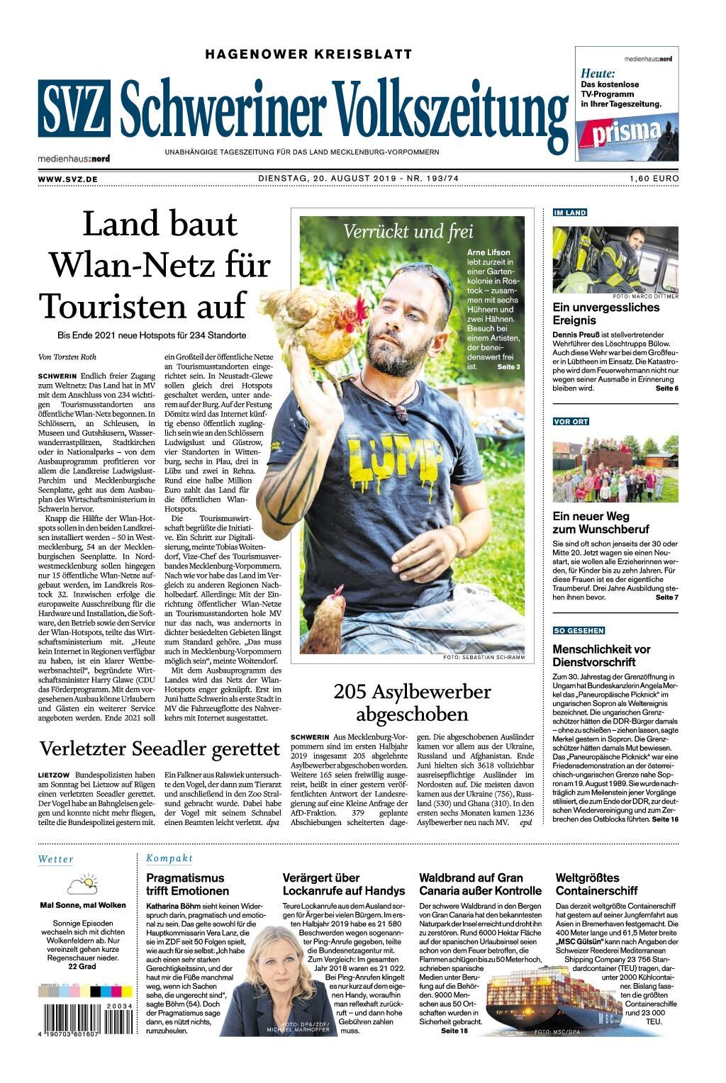 Schweriner Volkszeitung Hagenower Kreisblatt - 20. August 2019